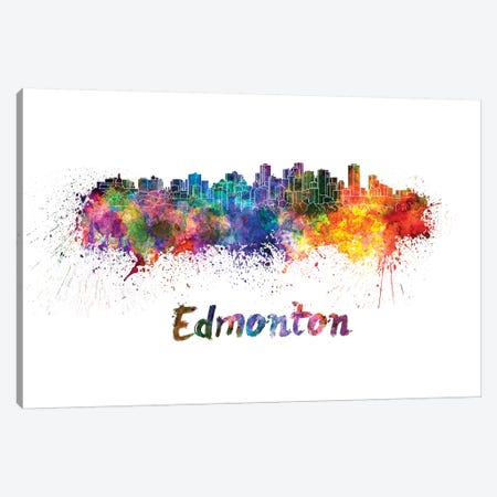 Edmonton Skyline In Watercolor Canvas Print #PUR225} by Paul Rommer Canvas Print