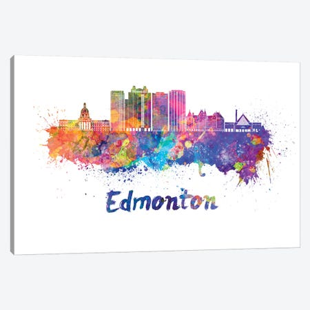 Edmonton Skyline In Watercolor II Canvas Print #PUR226} by Paul Rommer Canvas Art Print