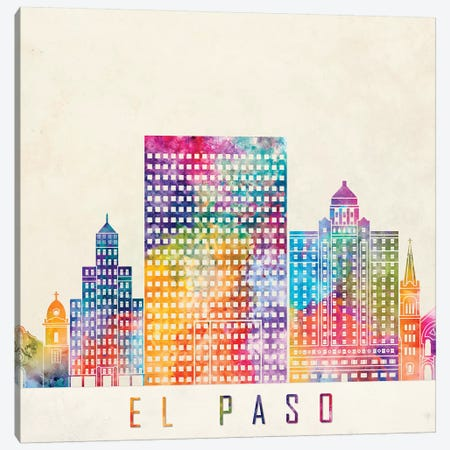 El Paso Landmarks Watercolor Poster Canvas Print #PUR227} by Paul Rommer Canvas Print