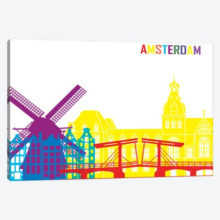 Amsterdam Skyline Pop Canvas Print #PUR2285} by Paul Rommer Art Print