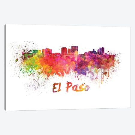 El Paso Skyline In Watercolor Canvas Print #PUR228} by Paul Rommer Canvas Wall Art