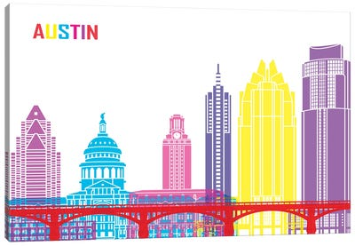 Austin Skyline Pop Canvas Art Print