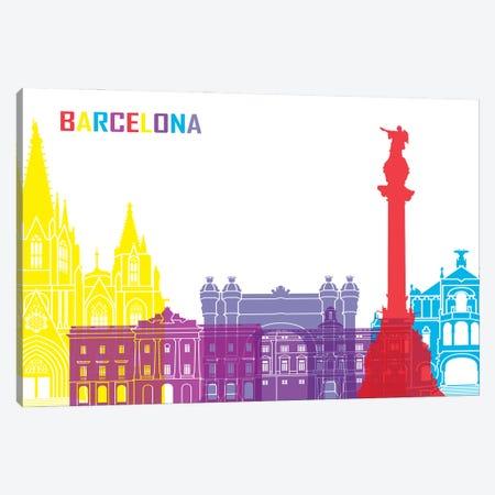 Barcelona Skyline Pop Canvas Print #PUR2299} by Paul Rommer Canvas Print