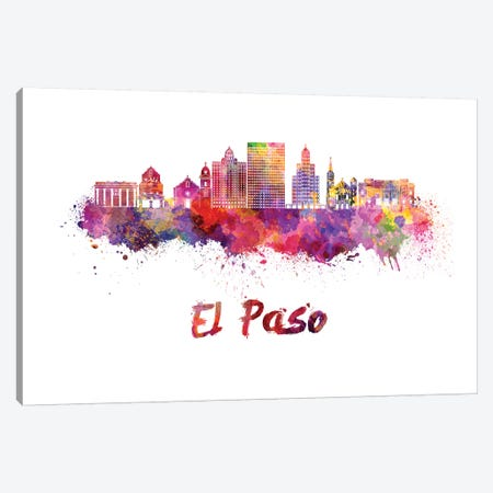 El Paso Skyline In Watercolor II Canvas Print #PUR229} by Paul Rommer Canvas Artwork