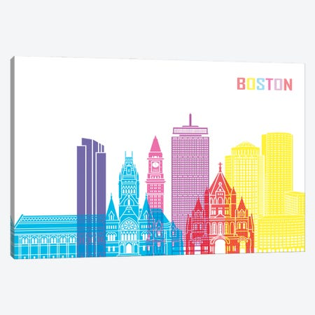 Boston II Skyline Pop Canvas Print #PUR2313} by Paul Rommer Canvas Wall Art