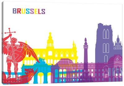 Brussels Skyline Pop Canvas Art Print