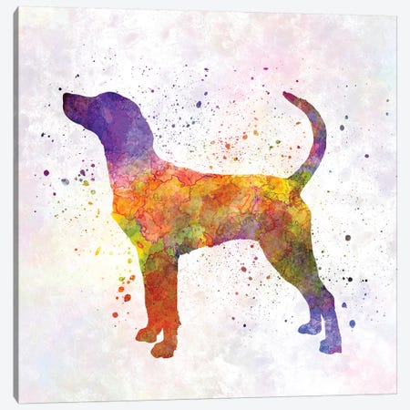 English Foxhound In Watercolor Canvas Print #PUR232} by Paul Rommer Art Print