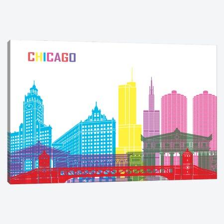 Chicago Skyline Pop Canvas Print #PUR2338} by Paul Rommer Canvas Artwork