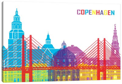 Copenhagen Skyline Pop Canvas Art Print