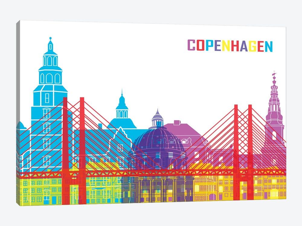 Copenhagen Skyline Pop by Paul Rommer 1-piece Canvas Art