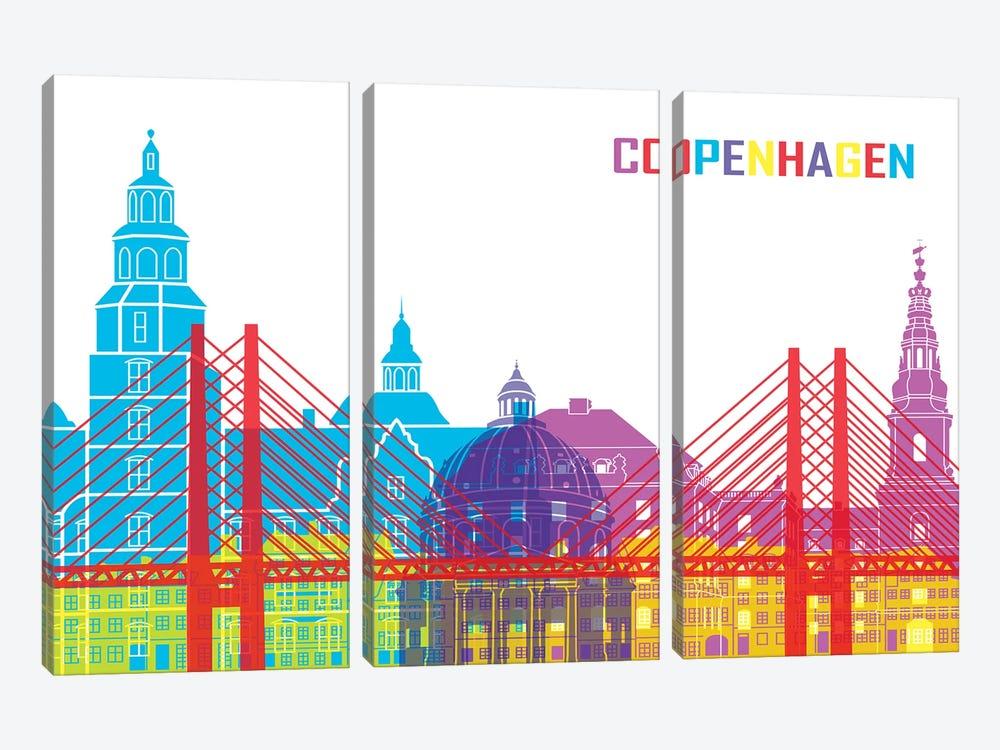 Copenhagen Skyline Pop by Paul Rommer 3-piece Canvas Artwork