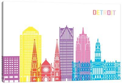 Detroit II Skyline Pop Canvas Art Print