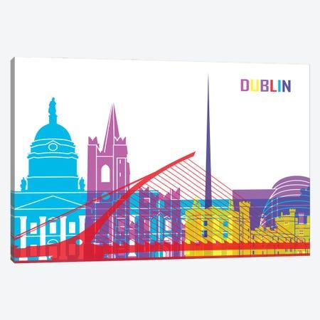 Dublin Skyline Pop Canvas Print #PUR2359} by Paul Rommer Canvas Wall Art