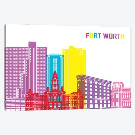 Fort Worth Skyline Pop Canvas Print #PUR2368} by Paul Rommer Art Print