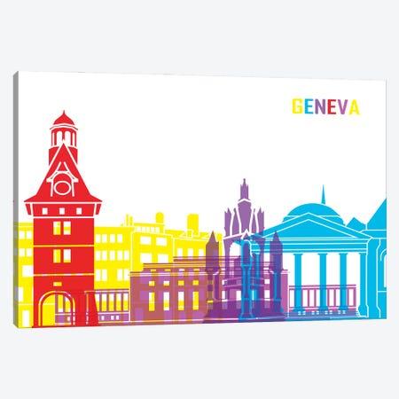 Geneva Skyline Pop Canvas Print #PUR2371} by Paul Rommer Canvas Wall Art