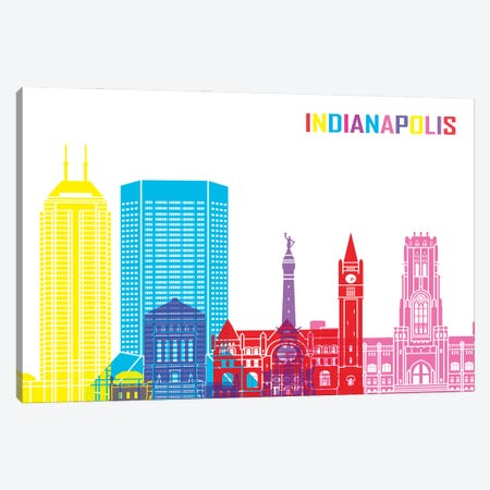 Indianapolis Skyline Pop Canvas Print #PUR2391} by Paul Rommer Canvas Wall Art