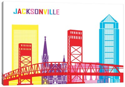 Jacksonville Skyline Pop Canvas Art Print