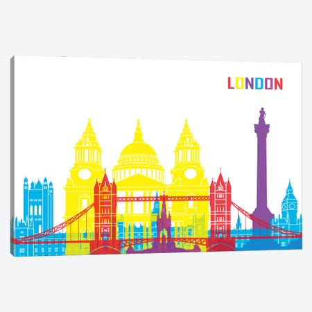 London Skyline Pop Canvas Print #PUR2428} by Paul Rommer Canvas Art