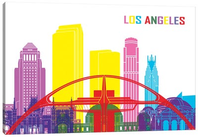Los Angeles Skyline Pop Canvas Art Print