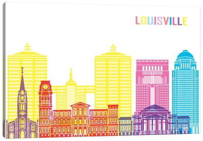 Louisville II Skyline Pop Canvas Art Print