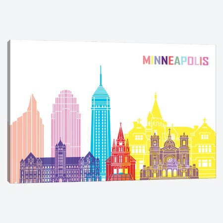 Minneapolis II Skyline Pop Canvas Print #PUR2450} by Paul Rommer Canvas Art Print