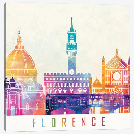 Florence Landmarks Watercolor Poster Canvas Print #PUR247} by Paul Rommer Canvas Print