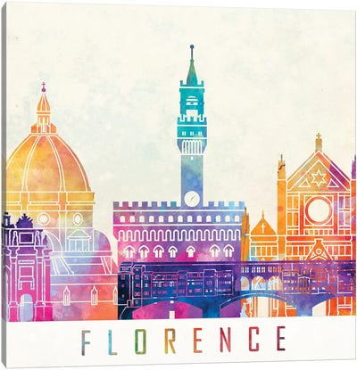 Florence Landmarks Watercolor Poster Canvas Art Print