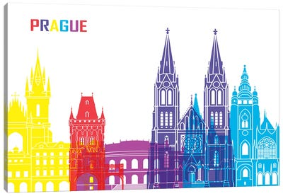 Prague Skyline Pop Canvas Art Print