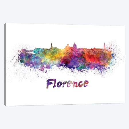 Florence Skyline In Watercolor Canvas Print #PUR248} by Paul Rommer Canvas Wall Art