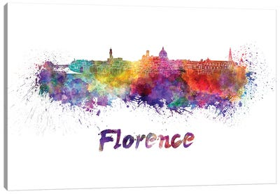 Florence Skyline In Watercolor Canvas Art Print