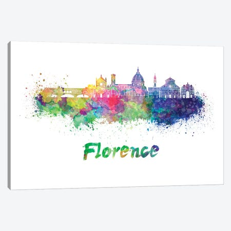 Florence Skyline In Watercolor II Canvas Print #PUR249} by Paul Rommer Canvas Artwork