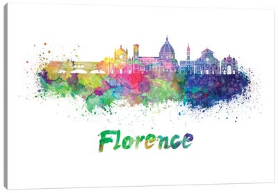 Florence Skyline In Watercolor II Canvas Art Print