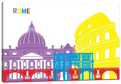 Rome Skyline Pop Canvas Art Print