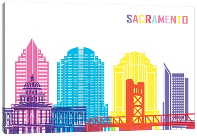 Sacramento II Skyline Pop Canvas Art Print