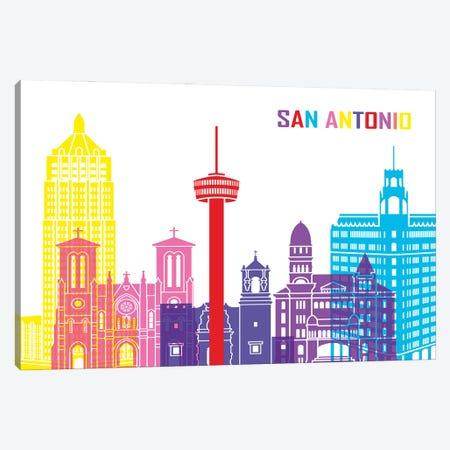 San Antonio Skyline Pop Canvas Print #PUR2513} by Paul Rommer Canvas Art