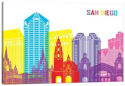 San Diego Skyline Pop Canvas Art Print