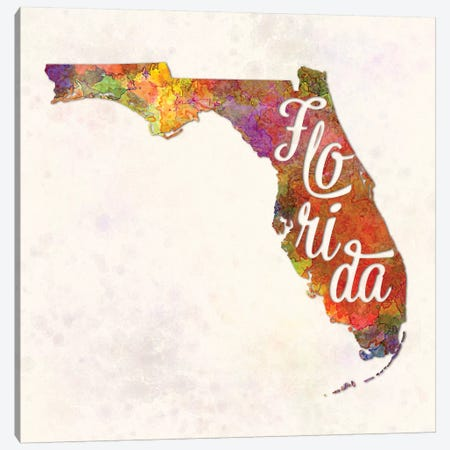 Florida US State In Watercolor Text Cut Out Canvas Print #PUR251} by Paul Rommer Canvas Art Print