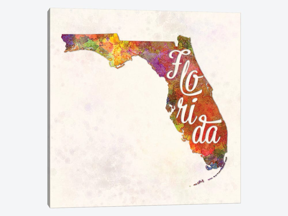 Florida US State In Watercolor Text Cut Out by Paul Rommer 1-piece Canvas Artwork