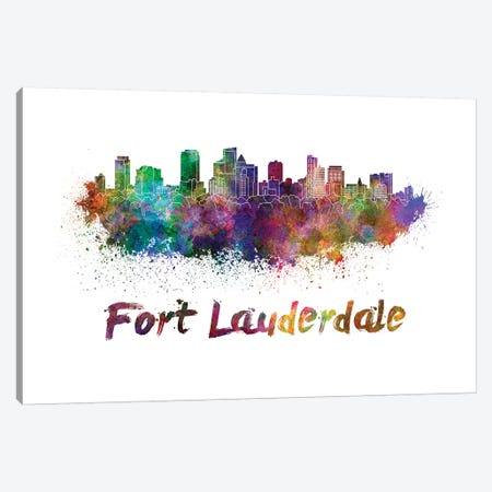 Fort Lauderdale Skyline In Watercolor Canvas Print #PUR252} by Paul Rommer Canvas Print