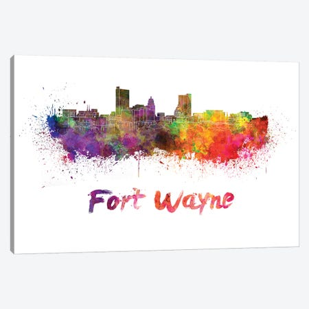 Fort Wayne Skyline In Watercolor Canvas Print #PUR253} by Paul Rommer Canvas Print