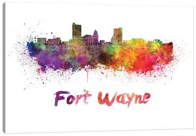 Fort Wayne Skyline In Watercolor Canvas Art Print