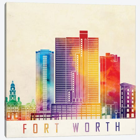 Fort Worth Landmarks Watercolor Poster Canvas Print #PUR254} by Paul Rommer Canvas Artwork