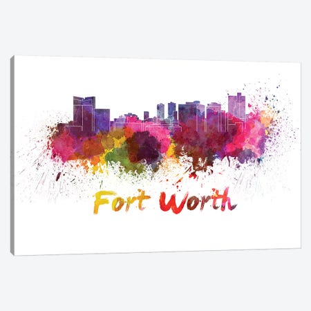 Fort Worth Skyline In Watercolor Canvas Print #PUR255} by Paul Rommer Canvas Artwork