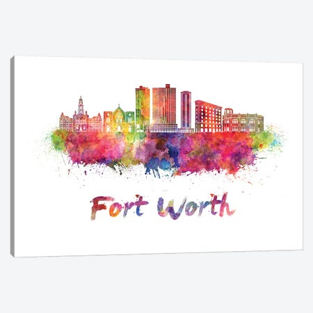 Fort Worth Skyline In Watercolor II Canvas Print #PUR256} by Paul Rommer Canvas Wall Art