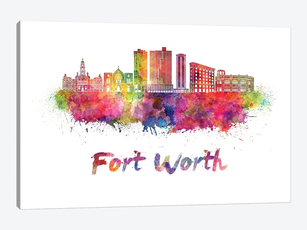 Fort Worth Skyline In Watercolor II by Paul Rommer 1-piece Canvas Print