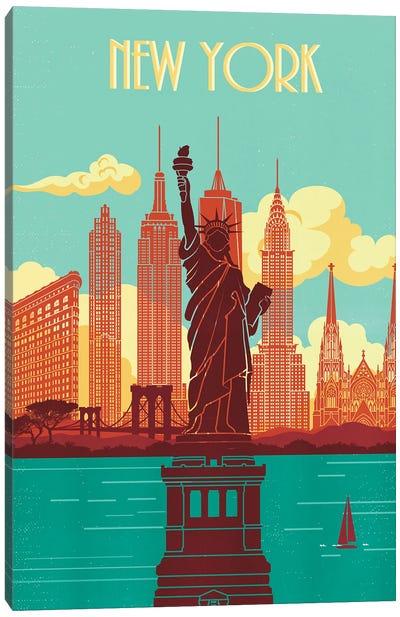New York Skyline Vintage Poster Travel Canvas Art Print