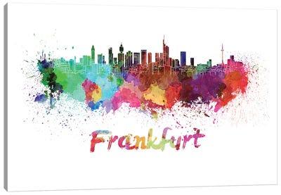 Frankfurt Skyline In Watercolor Canvas Art Print