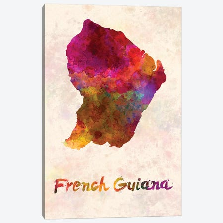 French Guiana In Watercolor Canvas Print #PUR262} by Paul Rommer Canvas Artwork