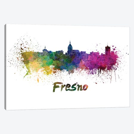 Fresno Skyline In Watercolor Canvas Print #PUR266} by Paul Rommer Canvas Print