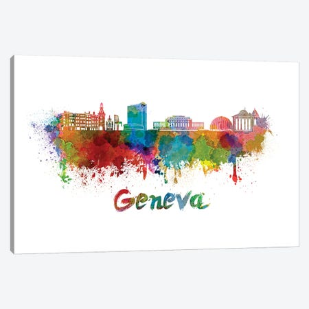 Geneva Skyline In Watercolor Canvas Print #PUR272} by Paul Rommer Canvas Art Print